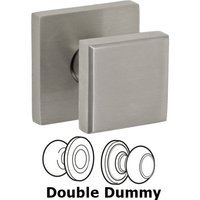 Fusion Hardware - Stainless Steel Door Knobs - Double Dummy 3050 Cast Knob with Square Rose in Brushed Stainless Steel