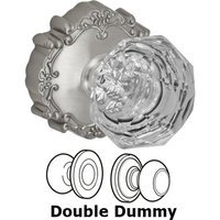 Fusion Hardware - Crystal and Glass Door Knobs - Double Dummy Crystal Clear Knob with Victorian Rose in Brushed Nickel