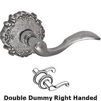 Fusion Hardware - Door Levers - Right Handed Double Dummy Paddle Lever with Victorian Rose in Antique Pewter