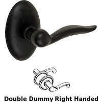 Fusion Hardware - Bronze Door Levers - Right Handed Double Dummy Sandcast Bronze Drop Tail Lever with Sandcast Bronze Oval Rose in Dark Bronze