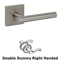 Fusion Hardware - Stainless Steel Door Levers - Right Handed Double Dummy 2090 Lever with Square Rose in Brushed Stainless Steel