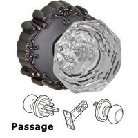 Fusion Hardware - Crystal and Glass Door Knobs - Passage Crystal Clear Knob with Victorian Rose in Oil Rubbed Bronze
