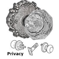 Fusion Hardware - Crystal and Glass Door Knobs - Privacy Crystal Clear Knob with Victorian Rose in Antique Pewter