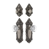 Grandeur Door Hardware - Grande Victorian - Handleset - Grande Victorian Plate With Chambord Crystal Knob & Matching Deadbolt In Antique Pewter