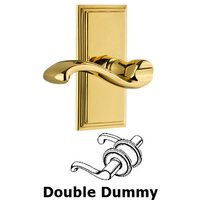 Grandeur Door Hardware - Carre - Grandeur Carre Plate Double Dummy with Portofino Lever in Polished Brass