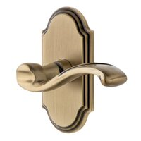 Grandeur Door Hardware - Arc - Grandeur Arc Plate Double Dummy with Portofino Lever in Vintage Brass