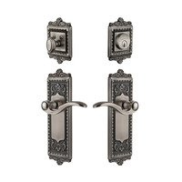 Grandeur Door Hardware - Windsor - Windsor Plate With Bellagio Lever & Matching Deadbolt In Satin Nickel