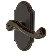 Grandeur Door Hardware - Arc - Grandeur Arc Plate Dummy with Newport Lever in Timeless Bronze