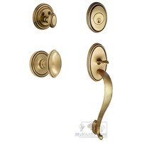 "Grandeur Door Hardware - Georgetown - Georgetown Rosette with ""S"" Grip and Eden Prairie Knob in Satin Nickel"