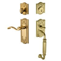 "Grandeur Door Hardware - Parthenon - Handleset - Parthenon with ""F"" Grip and Right Handed Portofino Door Lever in Lifetime Brass"