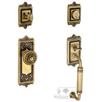 "Grandeur Door Hardware - Windsor - Handleset - Windsor with ""C"" Grip and Windsor Knob in Vintage Brass"