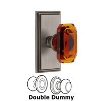 Grandeur Door Hardware - Carre - Carre - Double Dummy Knob with Baguette Amber Crystal Knob in Antique Pewter