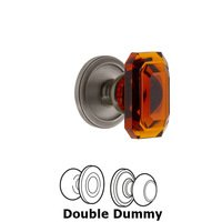 Grandeur Door Hardware - Circulaire - Circulaire - Double Dummy Knob with Baguette Amber Crystal Knob in Antique Pewter