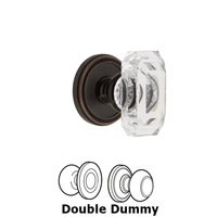 Grandeur Door Hardware - Soleil - Soleil - Double Dummy Knob with Baguette Clear Crystal Knob in Timeless Bronze