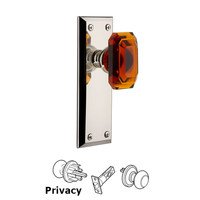 Grandeur Door Hardware - Fifth Avenue - Fifth Avenue - Privacy Knob with Baguette Amber Crystal Knob in Polished Nickel
