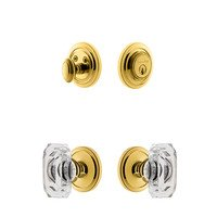 Grandeur Door Hardware - Circulaire - Handleset - Circulaire Rosette With Baguette Crystal Knob & Matching Deadbolt In Lifetime Brass