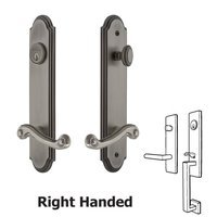 Grandeur Door Hardware - Arc Tall Plate Handlesets - Tall Plate Handleset with Newport Right Handed Lever in Antique Pewter