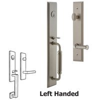Grandeur Door Hardware - Carre Full Plate Handleset - One-Piece Handleset with C Grip and Georgetown Left Handed Lever in Satin Nickel