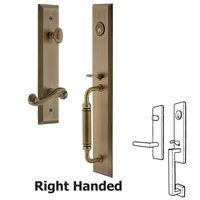 Grandeur Door Hardware - Fifth Avenue Full Plate Handleset - One-Piece Handleset with C Grip and Newport Left Handed Lever in Satin Nickel