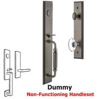 Grandeur Door Hardware - Carre Full Plate Handleset - One-Piece Dummy Handleset with F Grip and Provence Knob in Satin Nickel