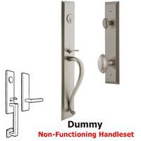 Grandeur Door Hardware - Fifth Avenue Full Plate Handleset - One-Piece Dummy Handleset with S Grip and Eden Prairie Knob in Satin Nickel