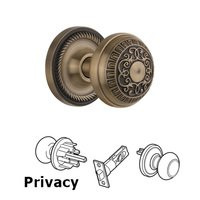 Nostalgic Warehouse - Rope - Complete Privacy Set Without Keyhole - Rope Rosette with Egg & Dart Knob in Antique Brass