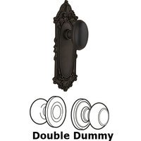 Nostalgic Warehouse - Victorian - Double Dummy Knob - Victorian Plate with Homestead Door Knob in Oil-rubbed Bronze
