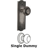 Nostalgic Warehouse - Meadows - Single Dummy Knob - Meadows Plate with Meadows Door Knob in Antique Pewter