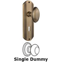Nostalgic Warehouse - Deco - Single Dummy Knob With Keyhole - Deco Plate with Homestead Knob in Antique Brass