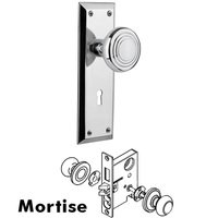 Nostalgic Warehouse - New York - Complete Mortise Lockset with Keyhole - New York Plate with Deco Door Knob in Timeless Bronze