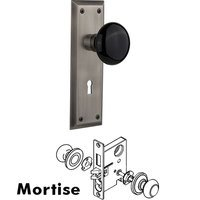 Nostalgic Warehouse - New York - Mortise New York Plate with Black Porcelain Knob and Keyhole in Unlacquered Brass