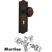 Nostalgic Warehouse - Meadows - Mortise - Meadows Plate with Brown Porcelain Knob with Keyhole in Oil Rubbed Bronze