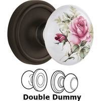 Nostalgic Warehouse - Classic - Double Dummy - Classic Rose with Rose Porcelain Knob in Oil Rubbed Bronze