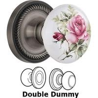 Nostalgic Warehouse - Rope - Double Dummy - Rope Rose with Rose Porcelain Knob in Antique Pewter