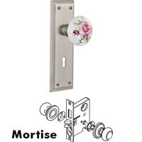 Nostalgic Warehouse - New York - Mortise - New York Plate with Rose Porcelain Knob with Keyhole in Satin Nickel