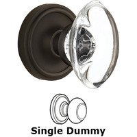 Nostalgic Warehouse - Classic - Single Dummy - Classic Rose with Oval Clear Crystal Knob in Oil Rubbed Bronze