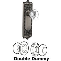 Nostalgic Warehouse - Egg & Dart - Complete Privacy Set - Egg & Dart Plate with Round Clear Crystal Glass Door Knob in Timeless Bronze