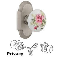 Nostalgic Warehouse - Cottage - Privacy Cottage Plate with White Rose Porcelain Knob in Satin Nickel