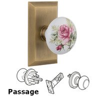 Nostalgic Warehouse - Studio - Passage Studio Plate with White Rose Porcelain Knob in Antique Brass