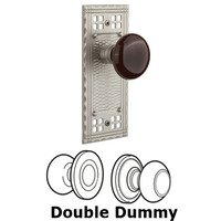 Nostalgic Warehouse - Craftsman - Double Dummy Craftsman Plate with Brown Porcelain Knob in Satin Nickel