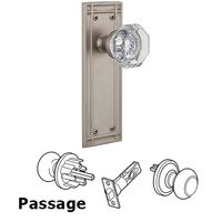 Nostalgic Warehouse - Mission - Privacy Mission Plate with Waldorf Knob in Satin Nickel