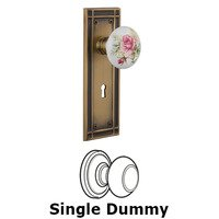 Nostalgic Warehouse - Mission - Single Dummy Mission Plate with White Rose Porcelain Knob and Keyhole in Antique Brass