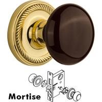 Nostalgic Warehouse - Rope - Mortise Rope Rosette with Brown Porcelain Knob and Keyhole in Unlacquered Brass