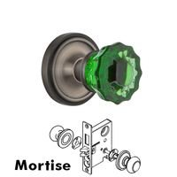 Nostalgic Warehouse - Classic - Nostalgic Warehouse - Mortise - Classic Rose Crystal Emerald Glass Door Knob in Antique Pewter
