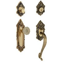 "Nostalgic Warehouse - Victorian - Handleset - Victorian with ""S"" Grip and Crystal Knob in Antique Brass and Vintage Brass"