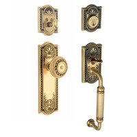 "Nostalgic Warehouse - Meadows - Handleset - Meadows with ""C"" Grip and Meadows Knob in Antique Brass and Vintage Brass"