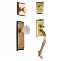 "Nostalgic Warehouse - New York - Handleset - New York with ""S"" Grip and Crystal Knob in Antique Brass and Vintage Brass"
