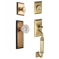 "Nostalgic Warehouse - New York - Handleset - New York with ""C"" Grip and Crystal Knob in Antique Brass and Vintage Brass"