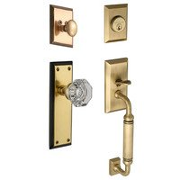 "Nostalgic Warehouse - New York - Handleset - New York with ""C"" Grip and Waldorf Knob in Antique Brass and Vintage Brass"