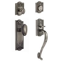 "Nostalgic Warehouse - Meadows - Handleset - Meadows with ""S"" Grip and Homestead Knob in Antique Pewter"